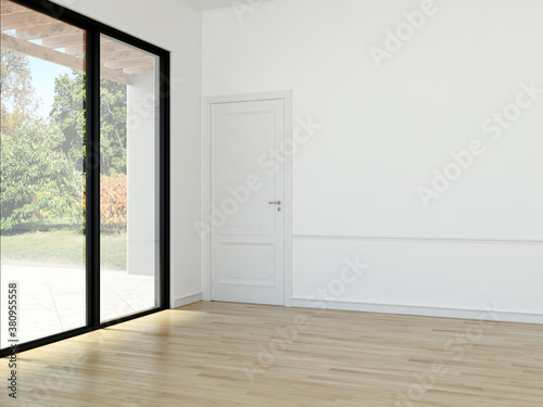 Zobacz obraz Large luxury modern minimal bright interiors room mockup illustration 3D rendering