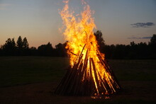 A Large Bonfire Burns At Midsu...