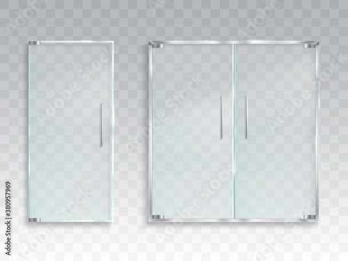 Fotografía Vector realistic illustration of a layout of an entrance glass door with metal h