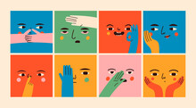 Square Abstract Comic Faces With Various Emotions And Hand Gestures. Different Colored Characters. Cartoon Style. Flat Design. Hand Drawn Trendy Vector Illustrations. Every Face Is Isolated