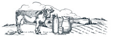 Milk Farm, Dairy Products, Hand Drawn Sketch Vector Illustration. Cow, Bottle, Glass Jug On Fields Landscape Background