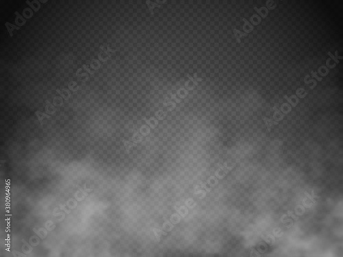 Fototapeta Fog or smoke isolated. Transparent special effect. White vector cloudiness, mist or smog obraz
