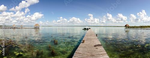 Fotografie, Obraz Bacalar Lagoon water at Lake Bacalar in Quintana Roo, Mexico.