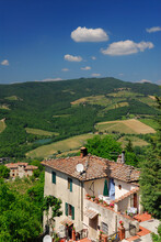 View Of Vineyards And Hillside House From Radda In Chianti Italy