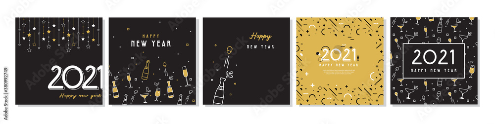 Fototapeta Happy New Year- 2021 . Collection of greeting background designs, New Year, social media promotional content. Vector illustration