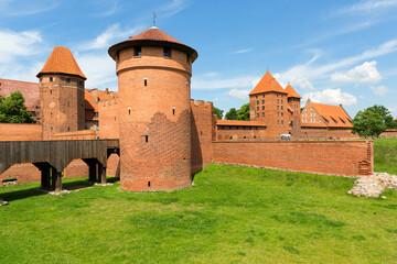 13th century Malbork Castle, medieval Teutonic fortress on the Nogat River, Malbork, Poland