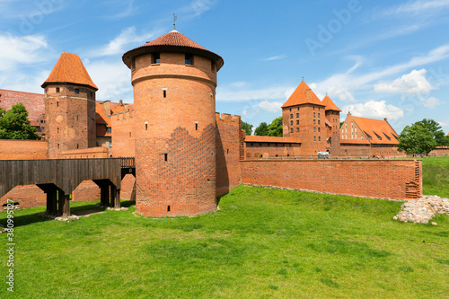 13th century Malbork Castle, medieval Teutonic fortress on the Nogat River, Malb Canvas Print