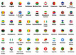 Africa all countries' flags. Hexagon isolated flat style design icons set