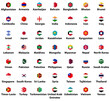 Asia all countries' flags. Hexagon isolated flat style design icons set