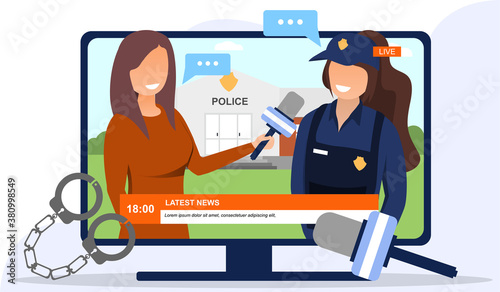 Fototapeta A policewoman communicating with a journalist