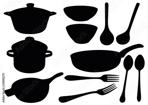 Fototapeta Cooking battery. The set includes a pot, frying pan, plate, fork, spoon, ladle. obraz