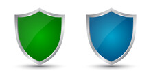 Two Shields Green And Blue Icons, Protect Signs – Stock Vector
