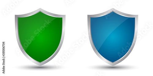 Fotografie, Obraz Two shields green and blue icons, protect signs – stock vector