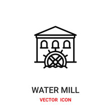 Water Mill Icon Vector Symbol. Farm Symbol Icon Vector For Your Design. Modern Outline Icon For Your Website And Mobile App Design. Agriculture Water Mill Icon.