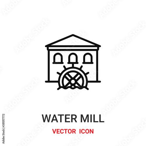 Canvas Print water mill icon vector symbol