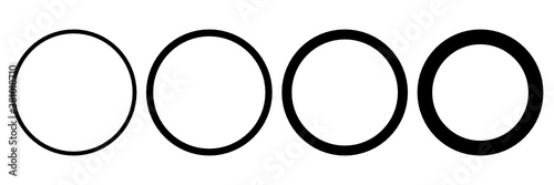 Fototapeta Set of black circle icon. Vector round symbols obraz