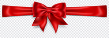 Beautiful Red Bow With Horizontal Ribbon With Shadow On Transparent Background. Transparency Only In Vector Format