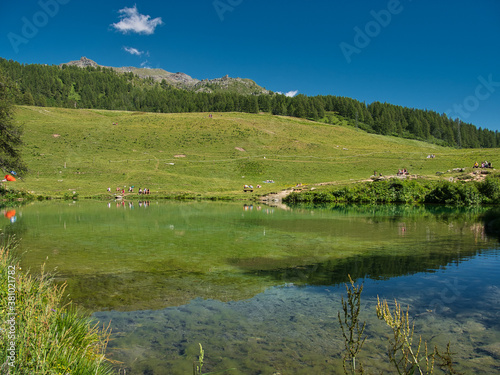 Alps, Italy. Blue Lake in the summer. Aosta Valley. Around the Matterhorn peak.