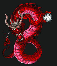Hand Drawn Red Dragon Vector Printing.Japanese Old Dragon For Tattoo. Traditional Asian Tattoo The Old Dragon Vector.Dragon Is Symbol Of Power