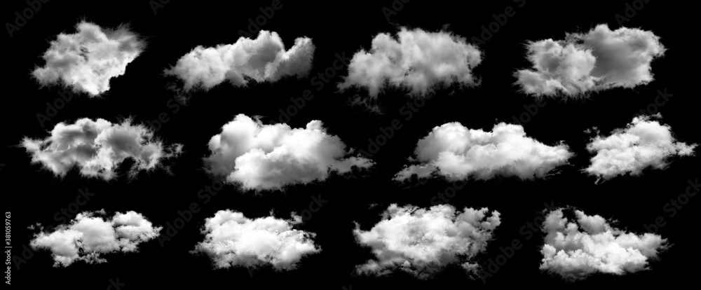 Fototapeta Set of white clouds isolated on black background.