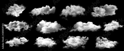 Set of white clouds isolated on black background. Billede på lærred