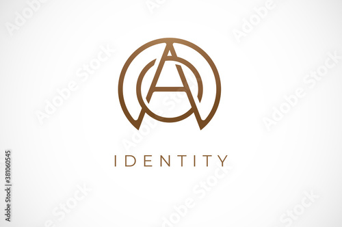 Abstract initial letter O and A logo,usable for branding and business logos, Flat Logo Design Template, vector illustration