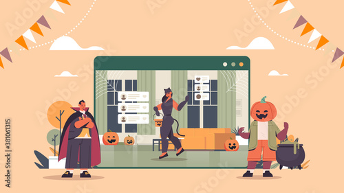 people in different costumes discussing during video call happy halloween holiday celebration self isolation online communication concept web browser window horizontal full length vector illustration