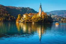 Famous Church On The Small Island And Lake Bled, Slovenia