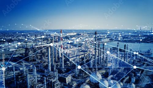 Fototapeta 工場とネットワーク obraz
