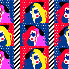Stylish Woman In Sunglasses Seamless Pattern. Fashionable Girl In Hat With Yellow Red Hairstyle Elegant Model Glasses Pink Shade Colorful Lifestyle And Romantically Attractive Vector Image.