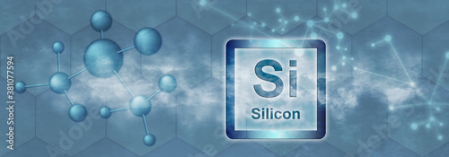 Si symbol. Silicon chemical element Canvas-taulu