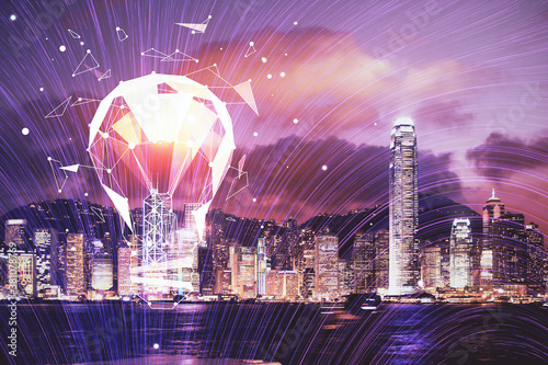 Obraz Multi exposure of bulb hologram drawing and cityscape background. Concept of idea. - fototapety do salonu