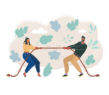Vector Illustration Of Man And Woman Pulling A Rope. Couple Of People Play Tug Of War Game. Сompetition And Confrontation Concept.