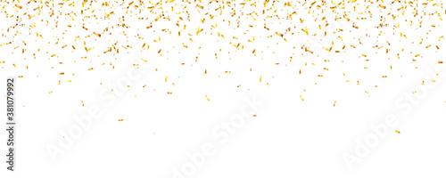Fototapeta Christmas golden confetti. Falling shiny glitter in gold color. New year, birthday, valentines day design element. Holiday background. obraz