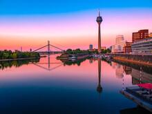 Sunset In Düsseldorf Harbor