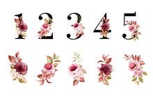 Watercolor Floral Number Set O...