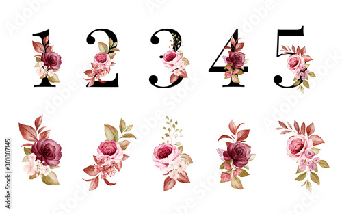 Fotografija Watercolor floral number set of 1, 2, 3, 4, 5 with red and brown flowers and leaves