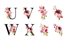 Watercolor Floral Alphabet Set Of U, V, W, X With Red And Brown Flowers And Leaves. Flowers Composition For Logo, Cards, Branding, Etc
