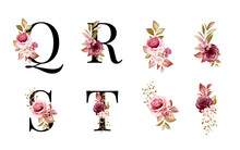 Watercolor Floral Alphabet Set Of Q, R, S, T With Red And Brown Flowers And Leaves. Flowers Composition For Logo, Cards, Branding, Etc