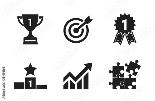 Fotomural achievement and success icon set
