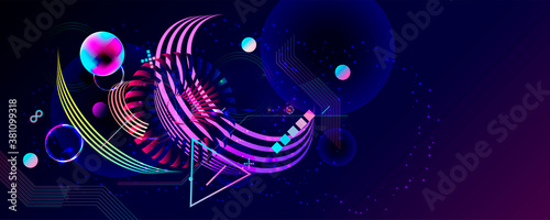 Dark retro futuristic art neon abstraction background cosmos new art 3d starry sky glowing galaxy and planets blue circles - 381099318
