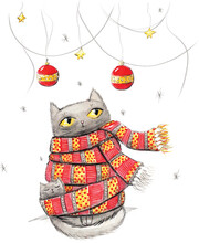 Cat And Kitten With Red Scarf. Cute Cartoon Funny Character. Baby Greeting Card. White Background. Hand Draw Watercolor Illustration