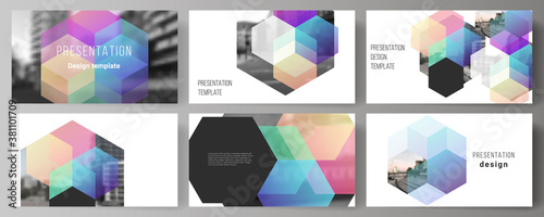 Photo Vector layout of the presentation slides design business templates, multipurpose template with colorful hexagons, geometric shapes, tech background for presentation brochure, brochure cover, report