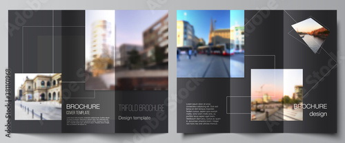 Fototapeta Vector layouts of covers design templates with geometric simple shapes, lines and photo place for trifold brochure, flyer layout, magazine, book design, brochure cover, advertising mockups. obraz