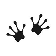 Frog Footprint Black Icon. Han...