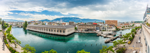 GENEVA, SWITZERLAND - June 12, 2020: Raining clouds over the Bâtiment des Forces Motrices on Rhone, Geneva Canvas