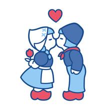 Delft Blue Kissing Couple