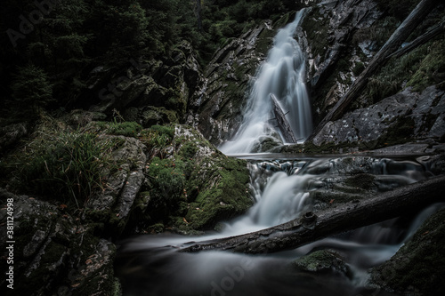 Cuadros en Lienzo Mountain brook waterfall time lapse