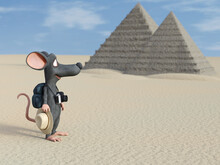 3D Rendering Of A Cartoon Mouse Tourist Backpacking In Egypt.