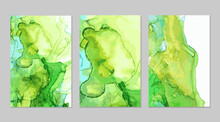 Emerald Green And Blue Marble Abstract Flyers Set. Alcohol Ink Technique Backgrounds. Vector Stone Textures. Modern Paint In Natural Colors. Template For Banner, Poster Design. Fluid Art Painting
